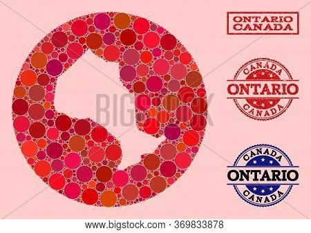 Vector Map Of Ontario Province Collage Of Round Blots And Red Grunge Seal. Hole Round Map Of Ontario