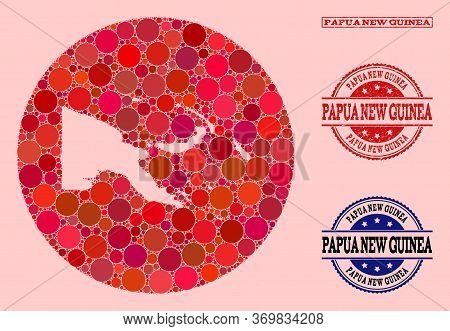 Vector Map Of Papua New Guinea Collage Of Spheric Dots And Red Rubber Seal Stamp. Subtraction Round