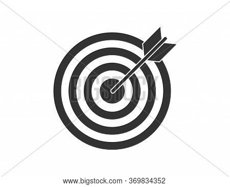 Target With Arrow. Black Aim With Bow. Strategy Motivation. Idea For Business And Marketing. Goal Wi