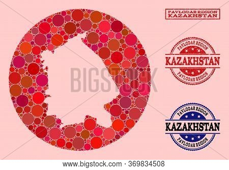 Vector Map Of Pavlodar Region Collage Of Spheric Items And Red Rubber Seal Stamp. Subtraction Round