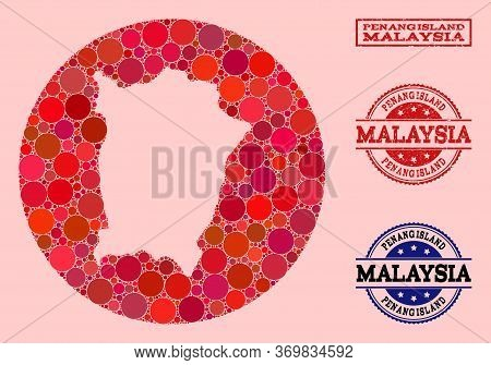 Vector Map Of Penang Island Collage Of Round Blots And Red Scratched Seal Stamp. Stencil Round Map O