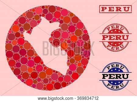 Vector Map Of Peru Collage Of Round Dots And Red Watermark Seal. Hole Circle Map Of Peru Collage Com