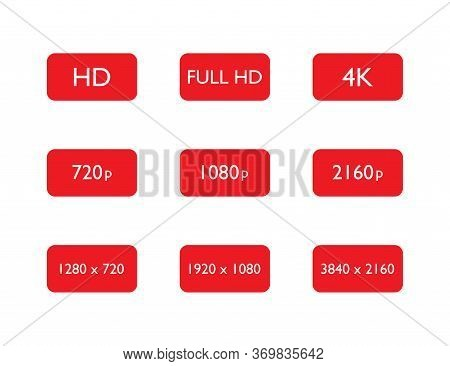 Set Of Hd, Full Hd And 4k Resolution. 720p, 1080p And 2160p Pixel Of Display Or Video Quality. 1920x