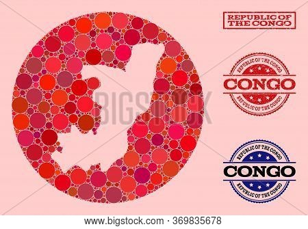 Vector Map Of Republic Of The Congo Collage Of Round Items And Red Watermark Stamp. Stencil Round Ma