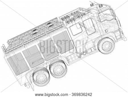 Fire Engine Vector. Fire Truck. Wire-frame. The Layers Of Visible And Invisible Lines Are Separated.