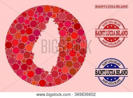 Vector Map Of Saint Lucia Island Collage Of Round Items And Red Grunge Stamp. Subtraction Round Map