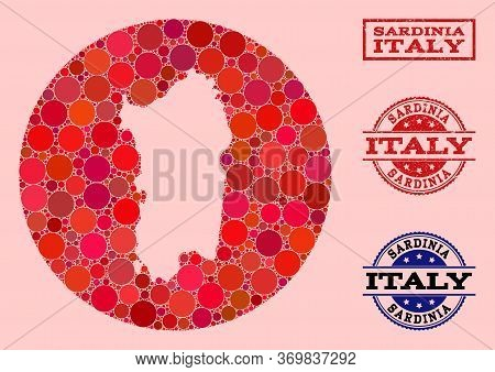 Vector Map Of Sardinia Region Collage Of Spheric Items And Red Watermark Seal. Stencil Round Map Of