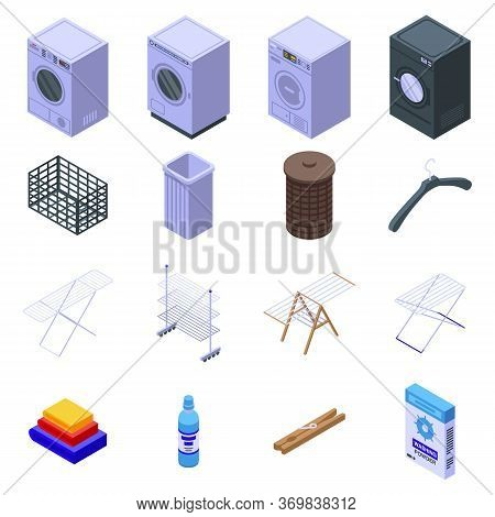 Tumble Dryer Icons Set. Isometric Set Of Tumble Dryer Vector Icons For Web Design Isolated On White