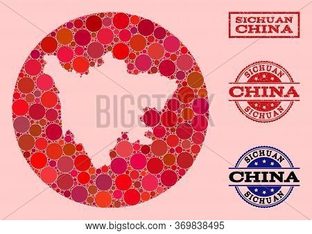 Vector Map Of Sichuan Province Mosaic Of Round Dots And Red Watermark Seal Stamp. Hole Round Map Of