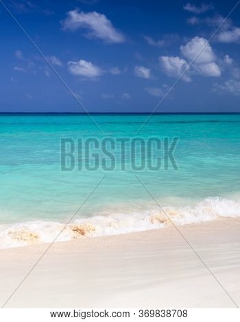 Tropical Beach With Turquoise Blue Water. Caribbean Virgin Island With Amazing White Sand On The Sea