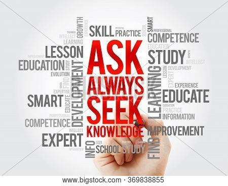 Ask - Always Seek Knowledge Word Cloud, Education Business Concept Background