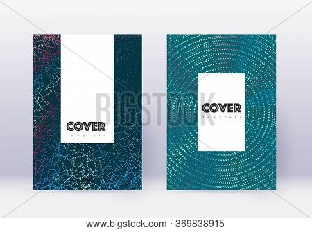 Hipster Cover Design Template Set. Red Abstract Lines On White Blue Background. Classy Cover Design.