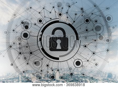 Cryptography And Encryption Algorithm Concept. Risk Management And Professional Safeguarding. Virtua