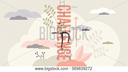Challenge Vector Illustration. Flat Tiny Motivational Perseverance Persons Concept. Determination To
