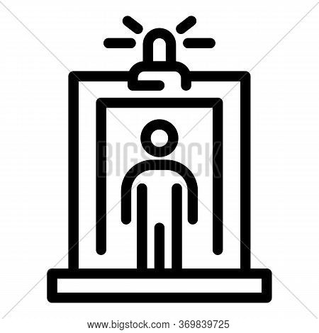 Flashlight Metal Detector Icon. Outline Flashlight Metal Detector Vector Icon For Web Design Isolate