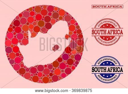 Vector Map Of South African Republic Collage Of Round Elements And Red Grunge Seal Stamp. Subtractio
