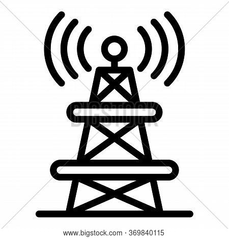 Radio Tower Icon. Outline Radio Tower Vector Icon For Web Design Isolated On White Background