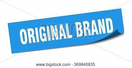 Original Brand Blue Square Sticker. Original Brand Square Isolated Sign