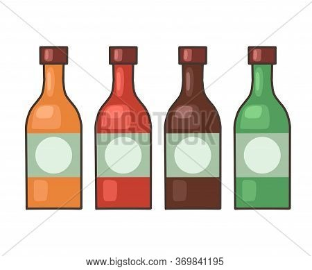 Set Of Bottles With Hot Sauce. Seasoning For Food. Vector Cartoon Object For Recipes, Menus, Banners