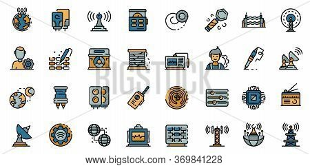 Radio Engineer Icons Set. Outline Set Of Radio Engineer Vector Icons For Web Design Isolated On Whit