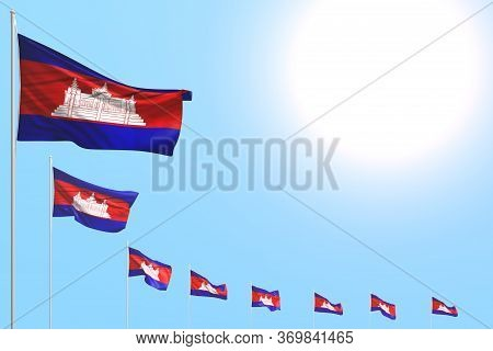 Pretty Feast Flag 3d Illustration  - Many Cambodia Flags Placed Diagonal On Blue Sky With Place For