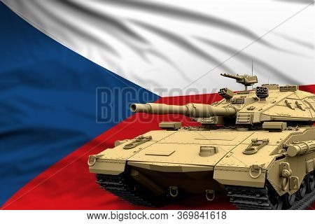 Czechia Modern Tank With Not Real Design On The Flag Background - Tank Army Forces Concept, Military
