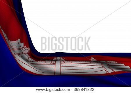 Beautiful Any Occasion Flag 3d Illustration  - Isolated Mockup Of Cambodia Flag Hanging Diagonal On