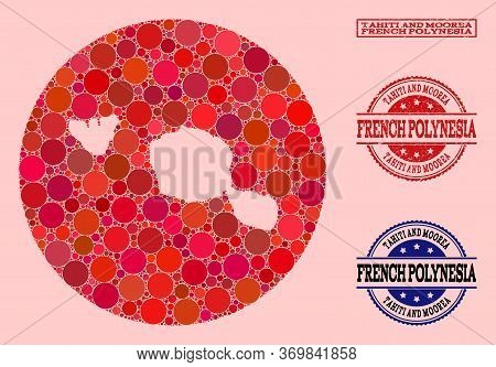 Vector Map Of Tahiti And Moorea Islands Mosaic Of Round Items And Red Grunge Stamp. Hole Round Map O
