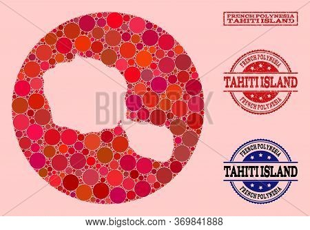 Vector Map Of Tahiti Island Mosaic Of Round Items And Red Grunge Stamp. Stencil Circle Map Of Tahiti