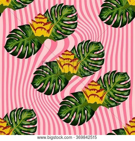 Summer Seamless Tropical Pattern With Bright Yellow And Pink Plants And Leaves.