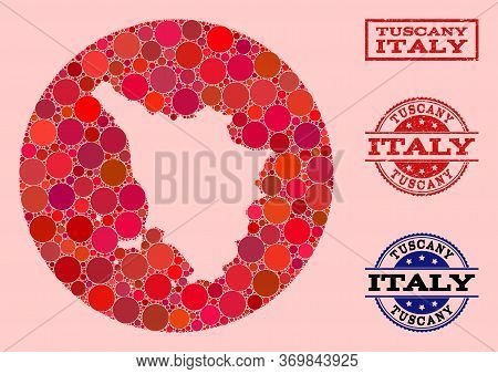 Vector Map Of Tuscany Region Collage Of Circle Blots And Red Rubber Stamp. Subtraction Circle Map Of