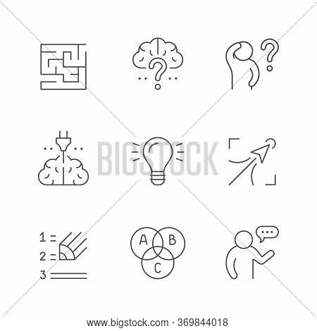Set Line Icons Of Brainstorming Isolated On White. Brain, Maze Or Labyrinth, Creative Idea, Question