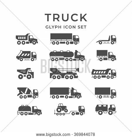 Set Glyph Icons Of Trucks Isolated On White. Tanker, Concrete Mixer, Crane, Carrier Dumper, Commerci