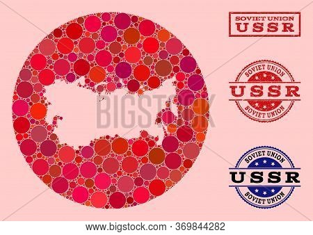 Vector Map Of Ussr Collage Of Round Items And Red Scratched Stamp. Hole Round Map Of Ussr Collage De