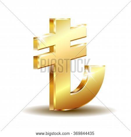 Shiny Golden Turkish Lira Sign. Tl Currency Symbol. Turkish Money.