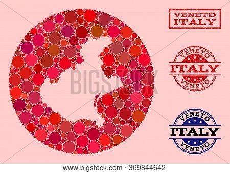 Vector Map Of Veneto Region Collage Of Circle Spots And Red Scratched Seal. Hole Circle Map Of Venet