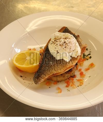 Cooked Sea Bass With A Poached Egg