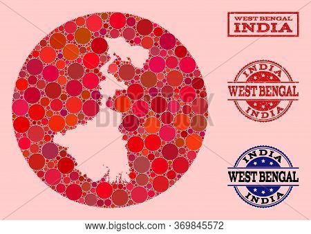 Vector Map Of West Bengal State Collage Of Spheric Blots And Red Scratched Seal Stamp. Subtraction R