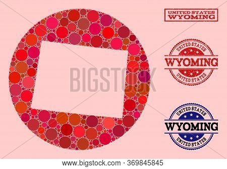 Vector Map Of Wyoming State Collage Of Round Spots And Red Grunge Seal Stamp. Hole Round Map Of Wyom