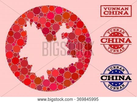 Vector Map Of Yunnan Province Collage Of Circle Blots And Red Watermark Seal. Hole Circle Map Of Yun