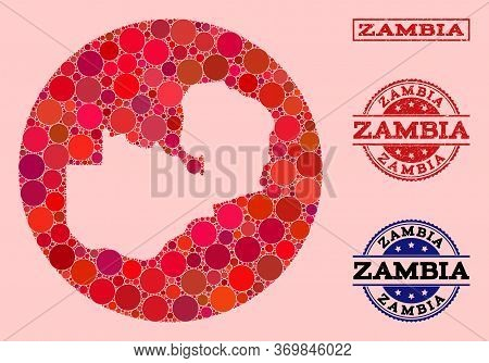 Vector Map Of Zambia Collage Of Round Elements And Red Scratched Seal Stamp. Hole Round Map Of Zambi