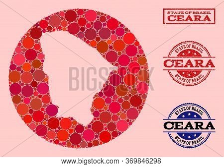 Vector Map Of Ceara State Collage Of Circle Dots And Red Grunge Seal. Hole Round Map Of Ceara State