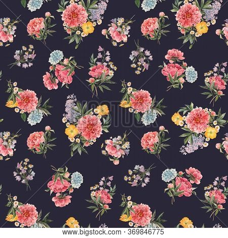Beautiful Seamless Floral Pattern With Watercolor Pink Peony And Other Summer Flowers. Stock Illustr