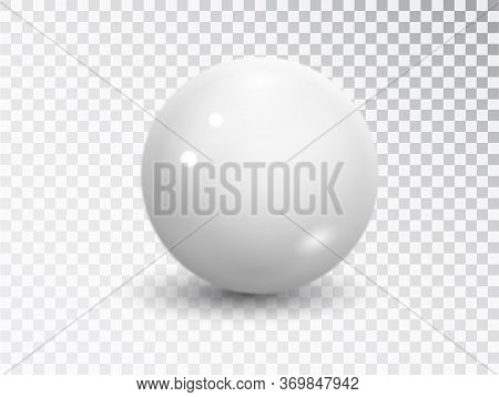 White Sphere Isolated On Transparent Background. Realistic White Ball, Ound Shape, Geometric Simple,