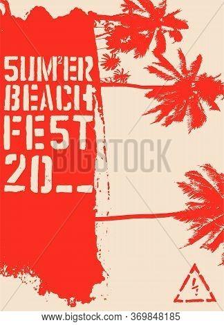 Summer Beach Festival Typographic Grunge Vintage Stencil Style Poster Design. Retro Vector Illustrat