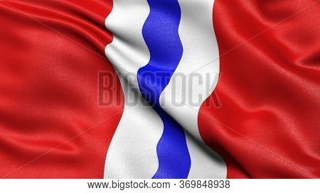 Flag of Omsk Oblast waving in the wind. 3D illustration.