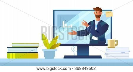 E-learning Concept With Young Male Character, Computer Screen, Plant, Papers, Books, Cup. Online Tut