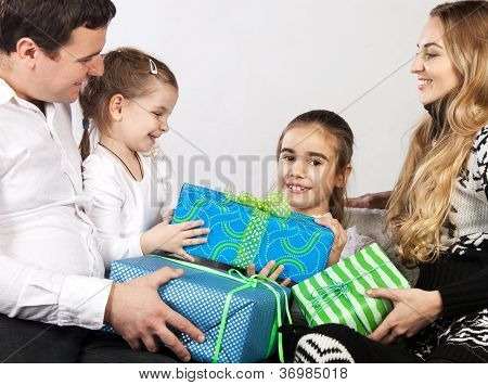 Happy Family With Presents