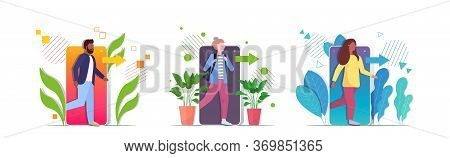 Set People Coming Out Of Cellphone Digital Detox Concept Characters Escaping From Digital Addiction