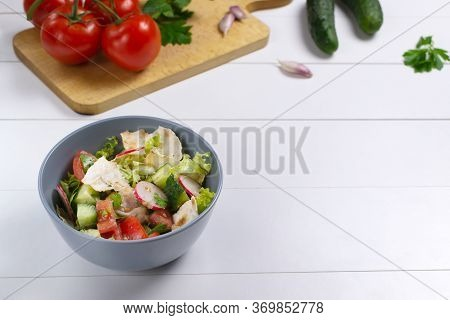 Fattoush Salad In A Gray Bowl With Ingredients On A White Background. Copy Space. Levantine Fattoush